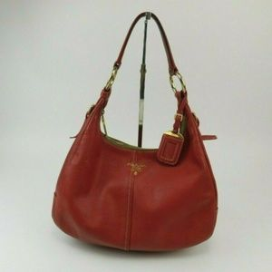 PRADA Vitello Daino Leather Hobo Shoulder Purse